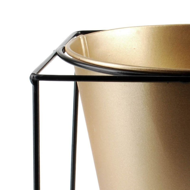 ORION Cover POT metal on stand black gold 16x16 cm