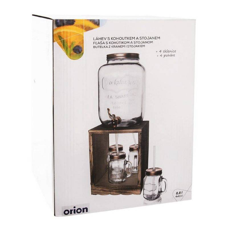 ORION Jar / jar with tap for drinks 8,8L + 4x glasses