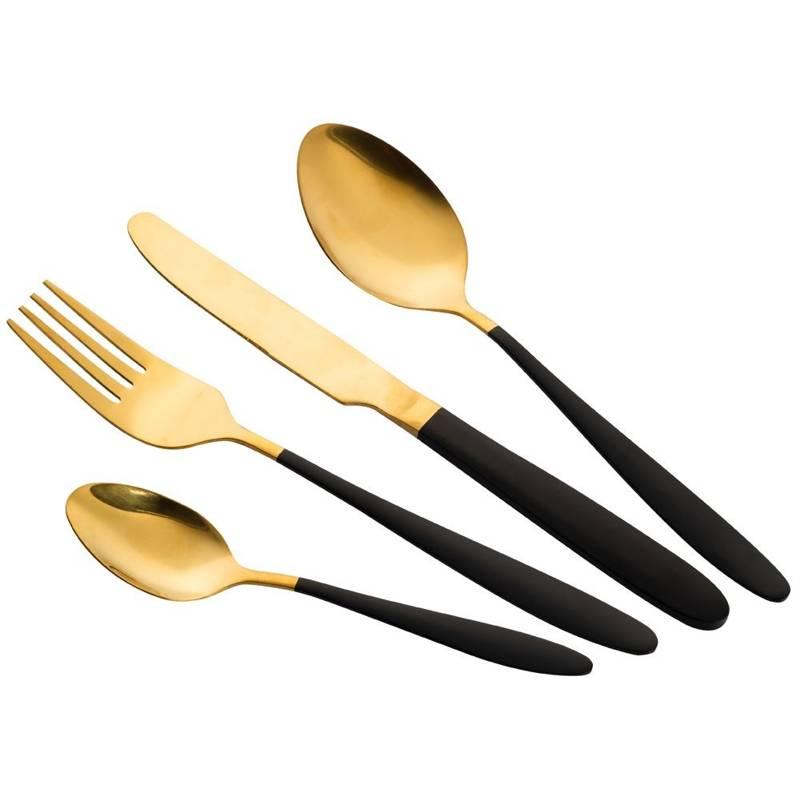 ORION Set of CUTLERY BLACK GOLD steel set 16x