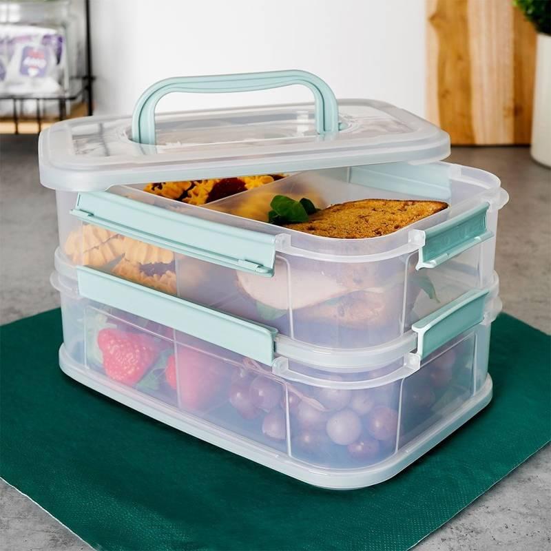 ORION Aufbewahrungsbox / Frischhaltedose für Wurstaufschnitt Käseaufschnitt mit zwei Ebenen je 1,8l