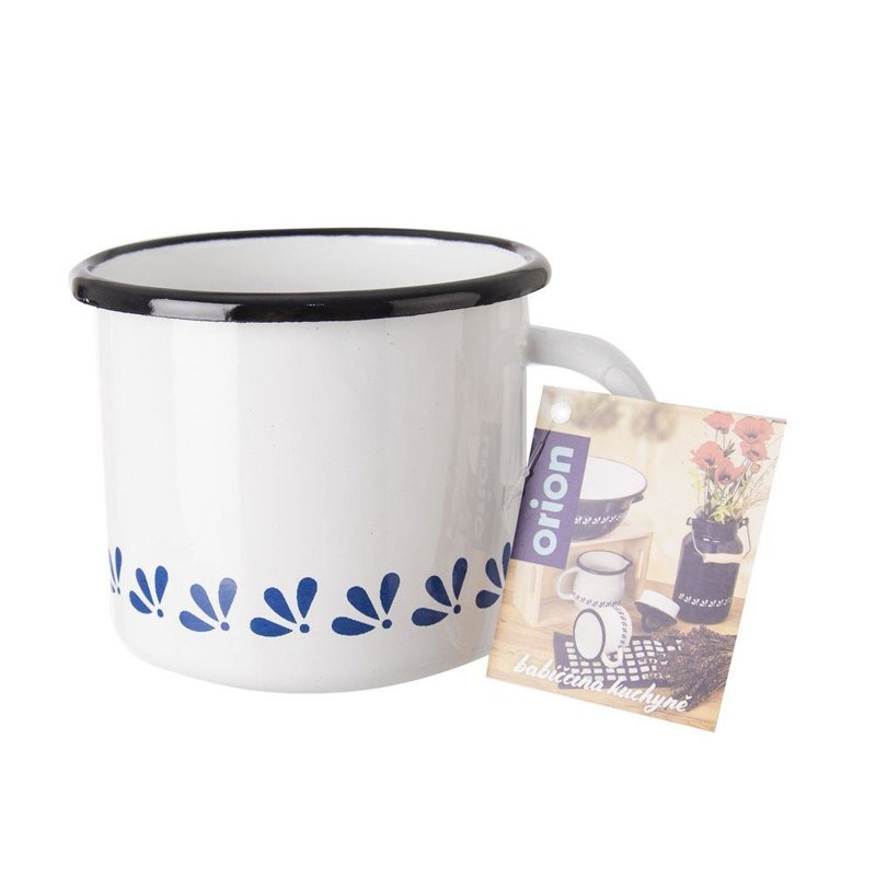 ORION Emaille-Becher / emaillierte Tasse mit Henkel RETRO 10 cm 0,7l