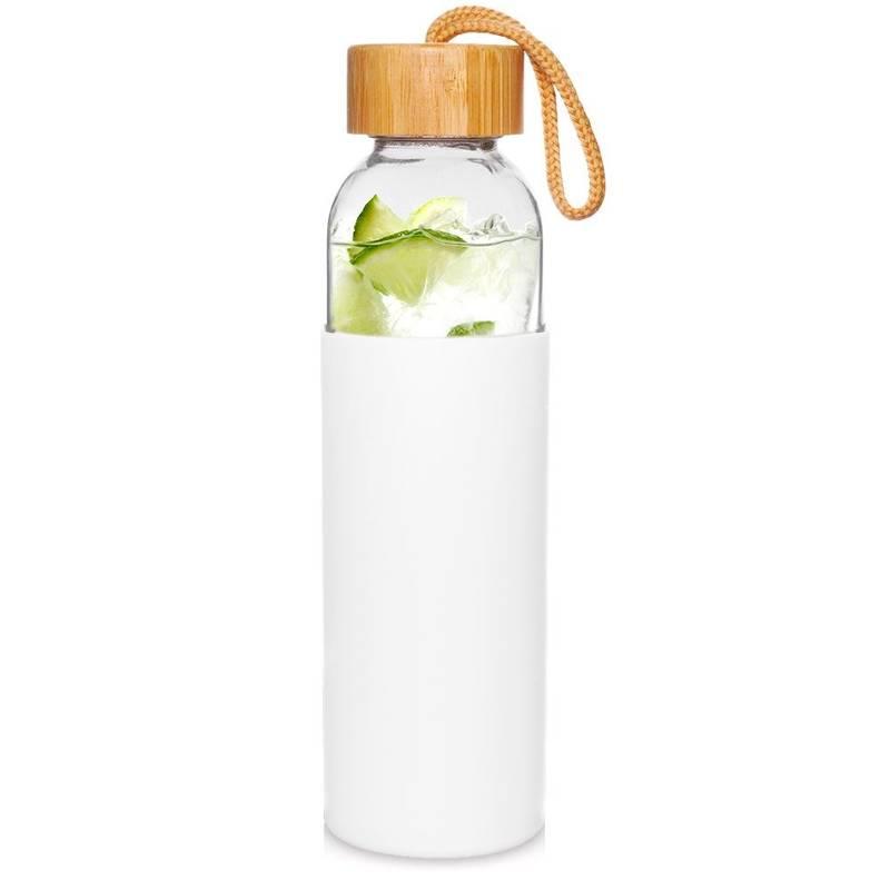 ORION Glasflasche TRINKFLASCHE aus Glas Silikon für Wasser Saft Limonade Smoothie 0,5l in Weiß mit Schnurschlaufe
