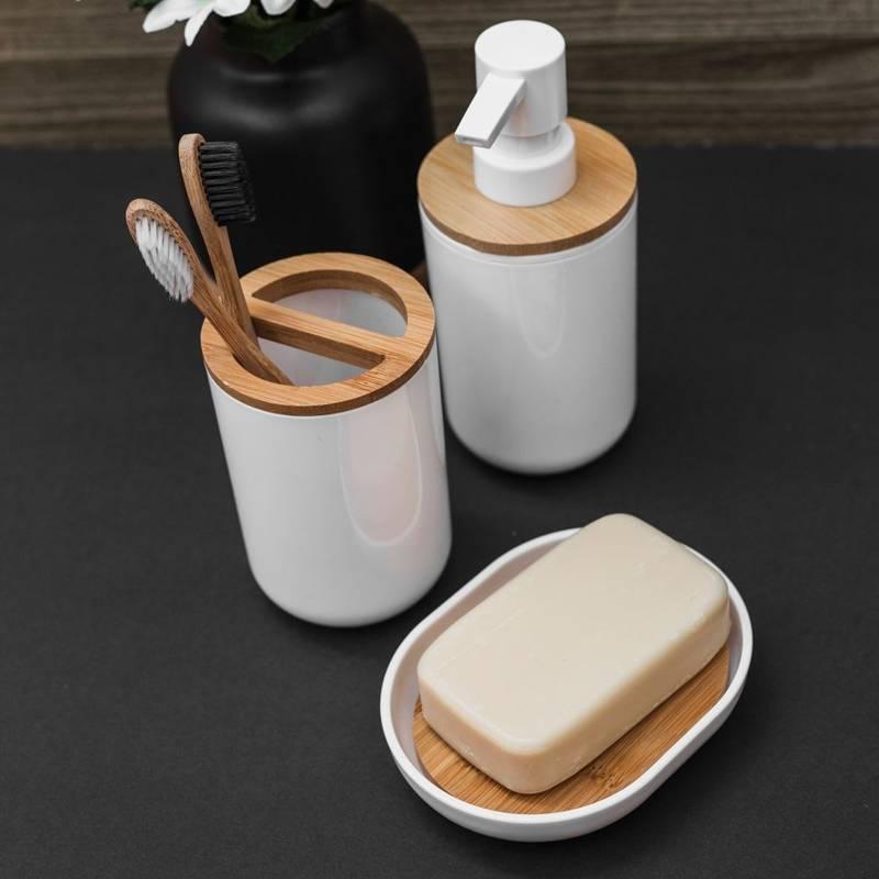 ORION Seifenhalter / Seifenschale aus Bambusholz weiß