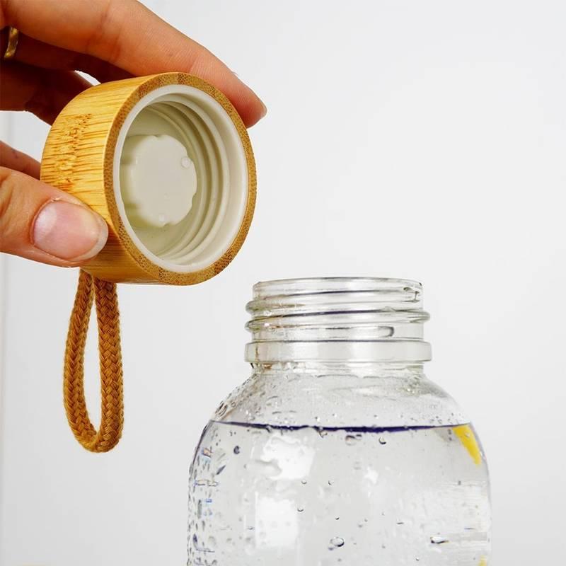 Butelka szklana silikonowa, bidon na wodę, sok, lemoniadę, smoothie, koktajl, 0,5 l, czerwona