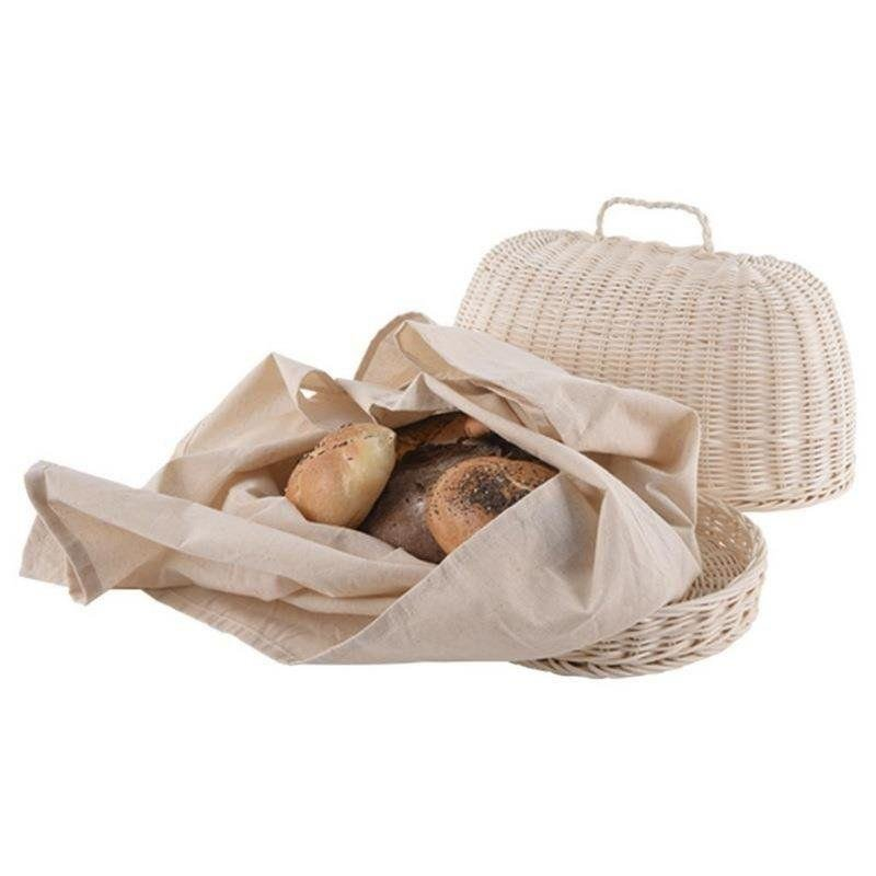 Chlebak wiklinowy RATTAN OWALNY tkanina na chleb