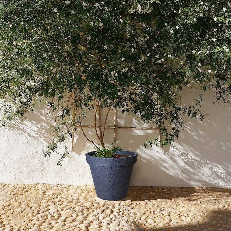 Doniczka, duża, donica okrągła ogrodowa, zewnętrzna, szara, 48 cm