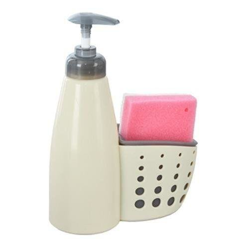 Dozownik do mydła / płynu do naczyń z gąbką BEŻOWY