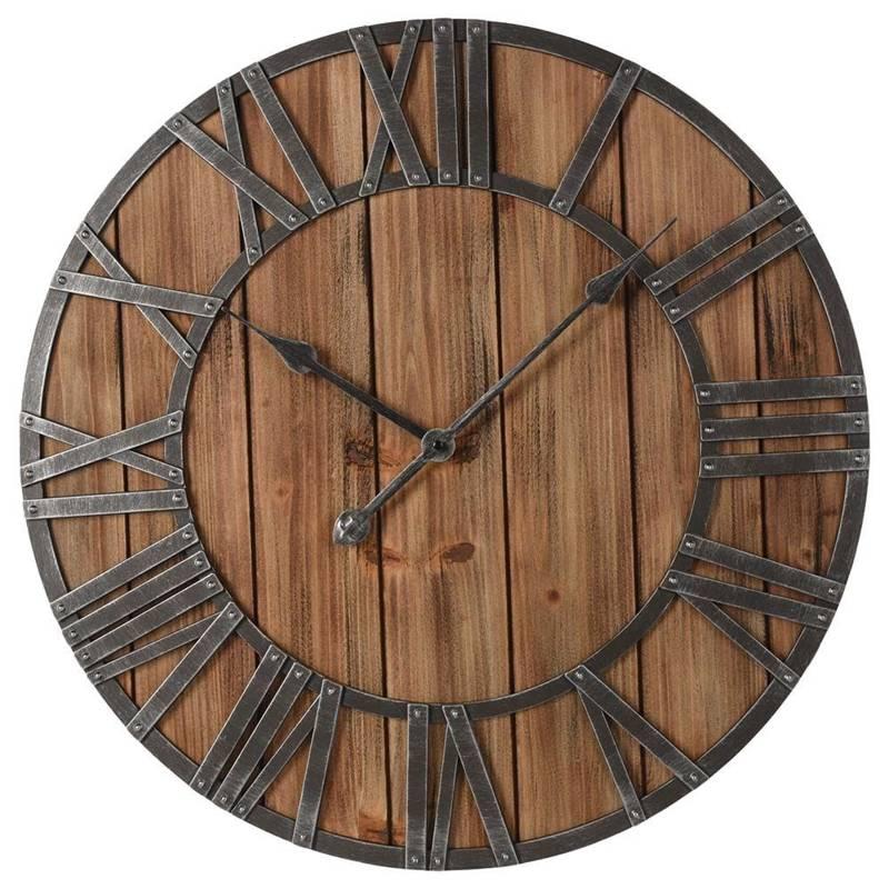 Drewniany zegar ścienny, rzymski, na ścianę, loft, retro, duży, 60 cm