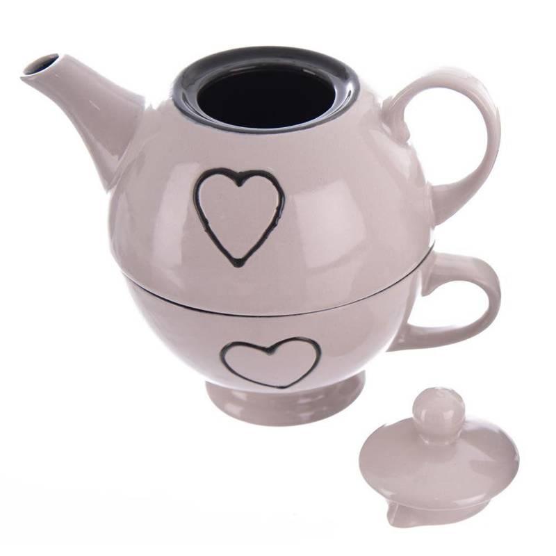Dzbanek + filiżanka ZESTAW do kawy herbaty SERCE