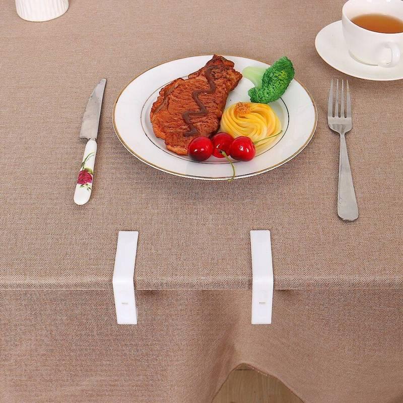Klipsy, uchwyty, klamry, białe, do obrusu, stołu, 8 sztuk
