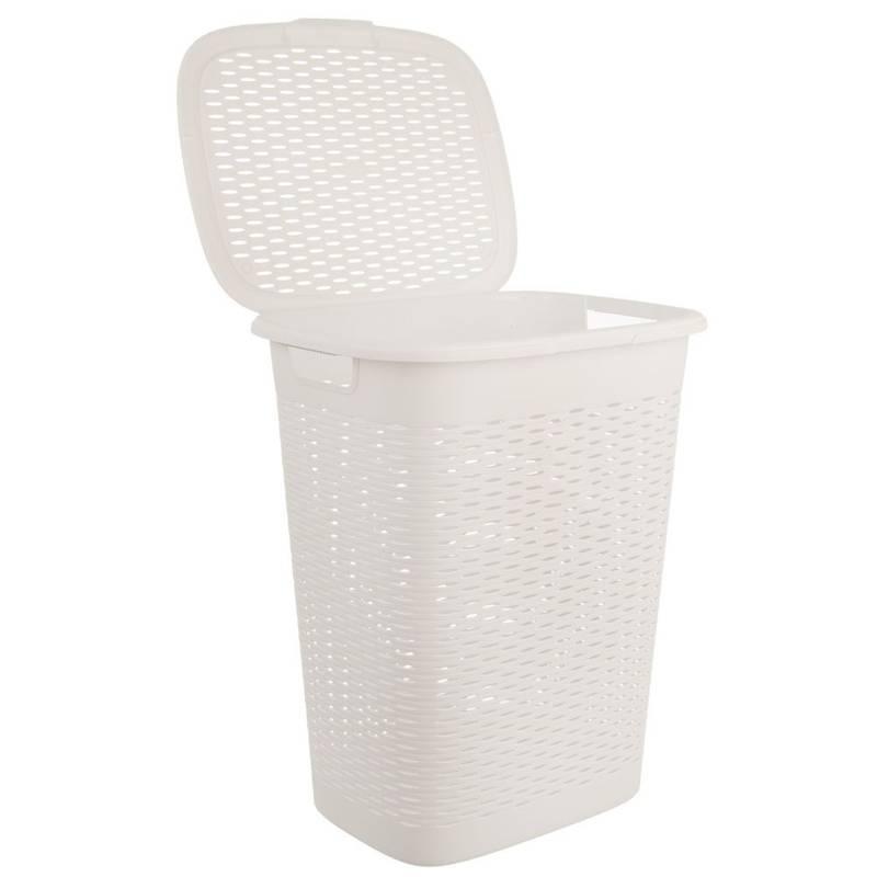 Kosz, pojemnik łazienkowy na pranie, odzież, bieliznę, z pokrywą, 47 l, biały