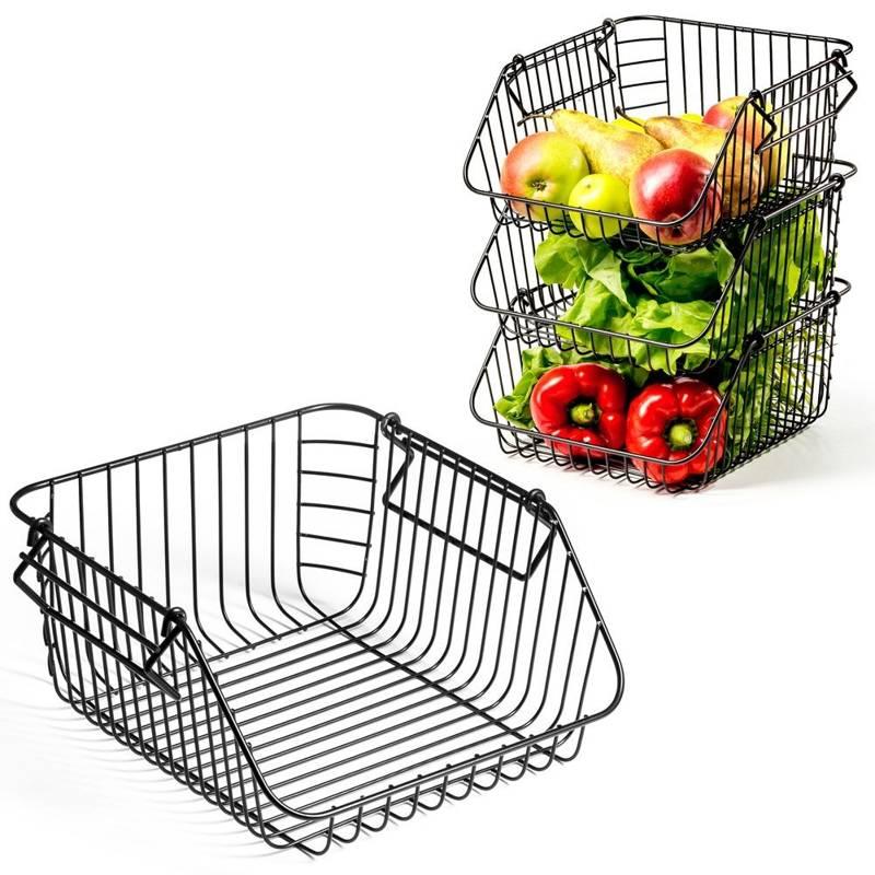 Koszyk na owoce i warzywa, metalowy, czarny, piętrowy, do piętrowania 29x27x14 cm, 1 szt.