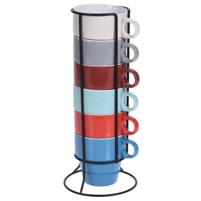 Kubek porcelanowy do kawy i herbaty, zestaw, komplet kubków, kubki w stojaku 250 ml 6 sztuk