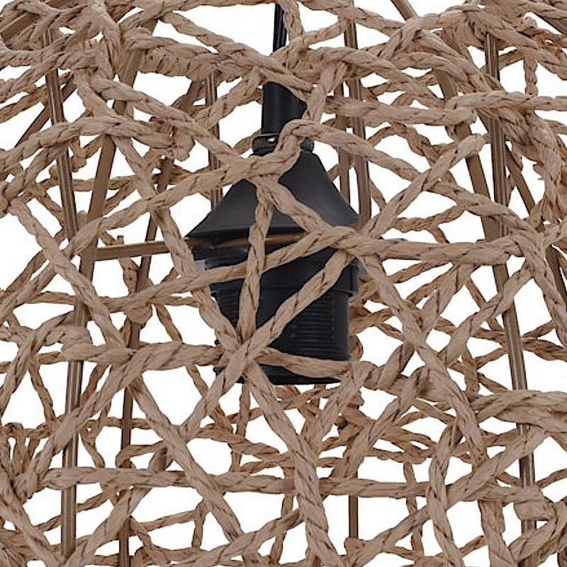 Lampa wisząca, boho, klosz z trawy morskiej, sufitowa, naturalna, kula, 32 cm