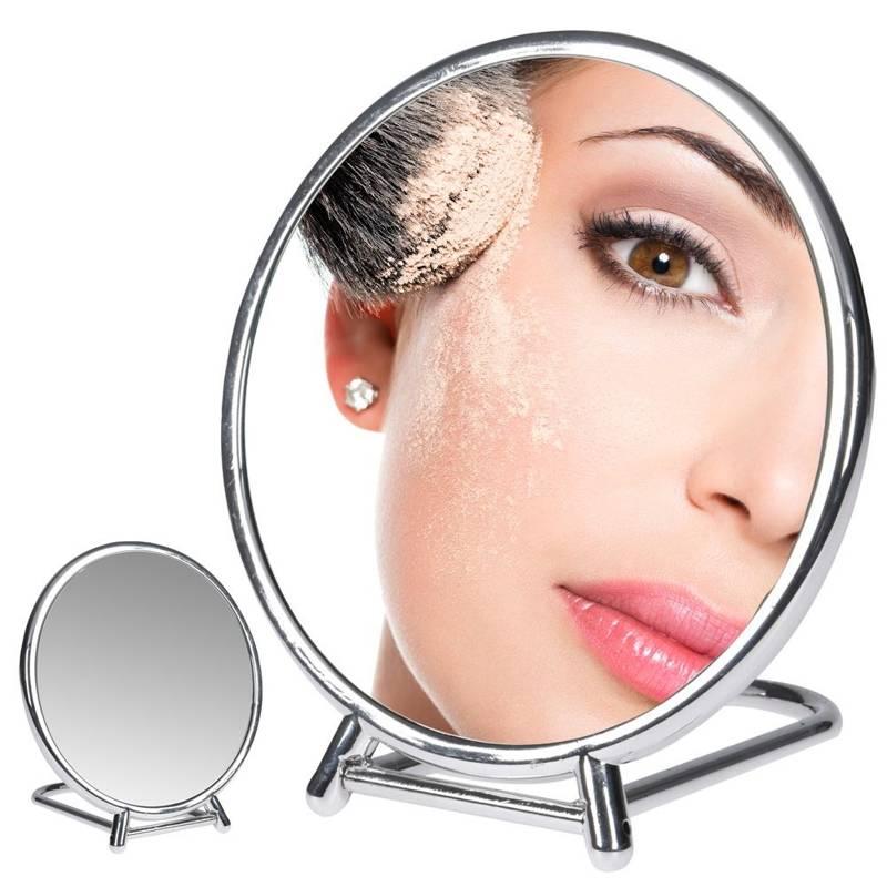 Lusterko KOSMETYCZNE do makijażu, lustro podwójne, powiększające, DUO, na stojaku