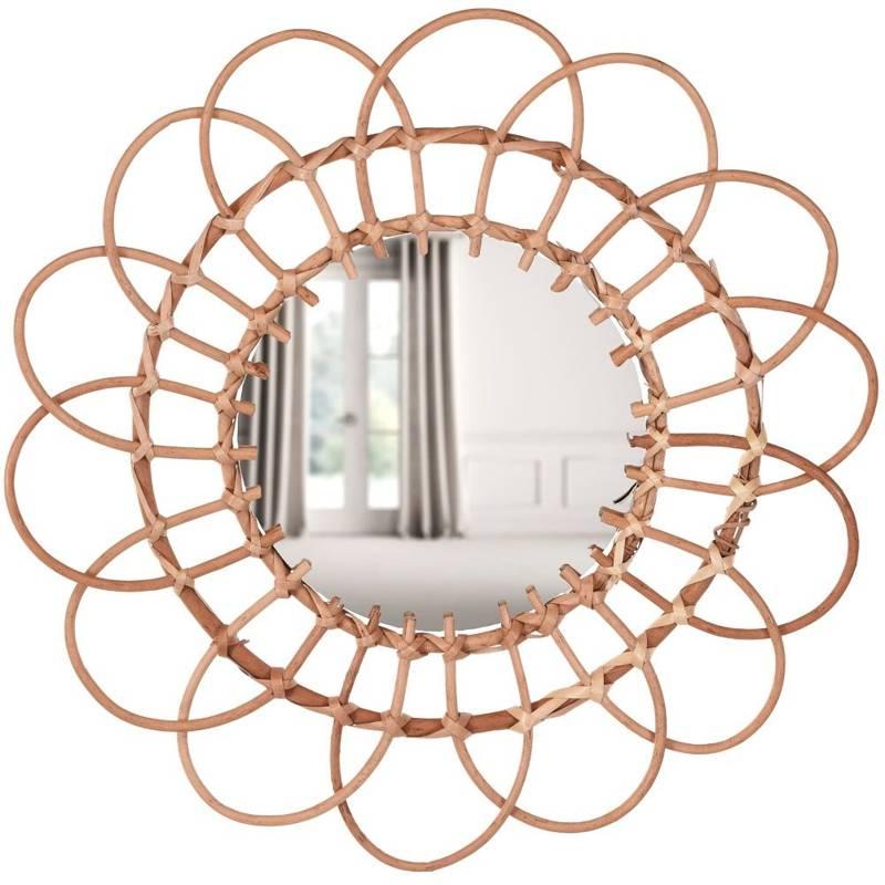 Lustro wiklinowe, plecione, boho, w wiklinowej ramie, okrągłe, 49 cm
