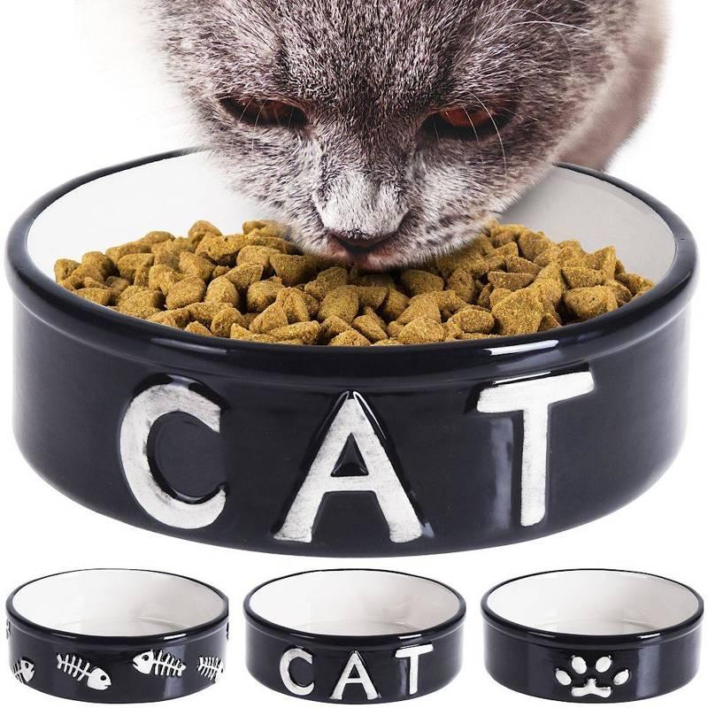 Miska ceramiczna dla kota, na karmę, wodę, 14 cm 450 ml