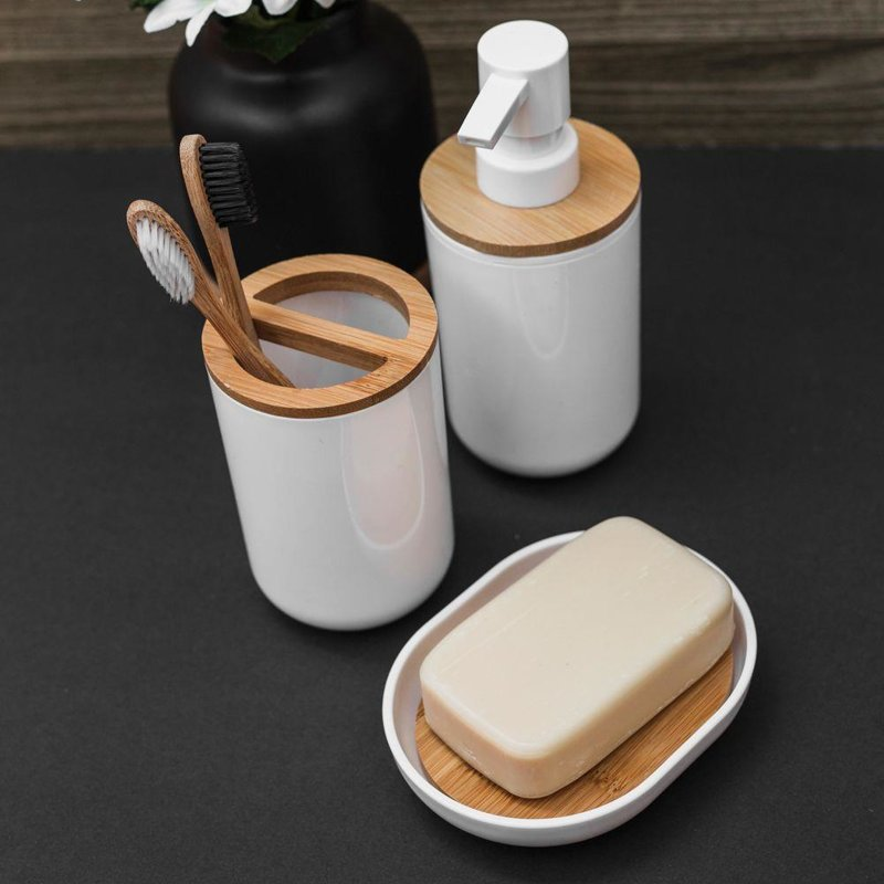 Mydelniczka podstawka na mydło drewniana bambusowa biała