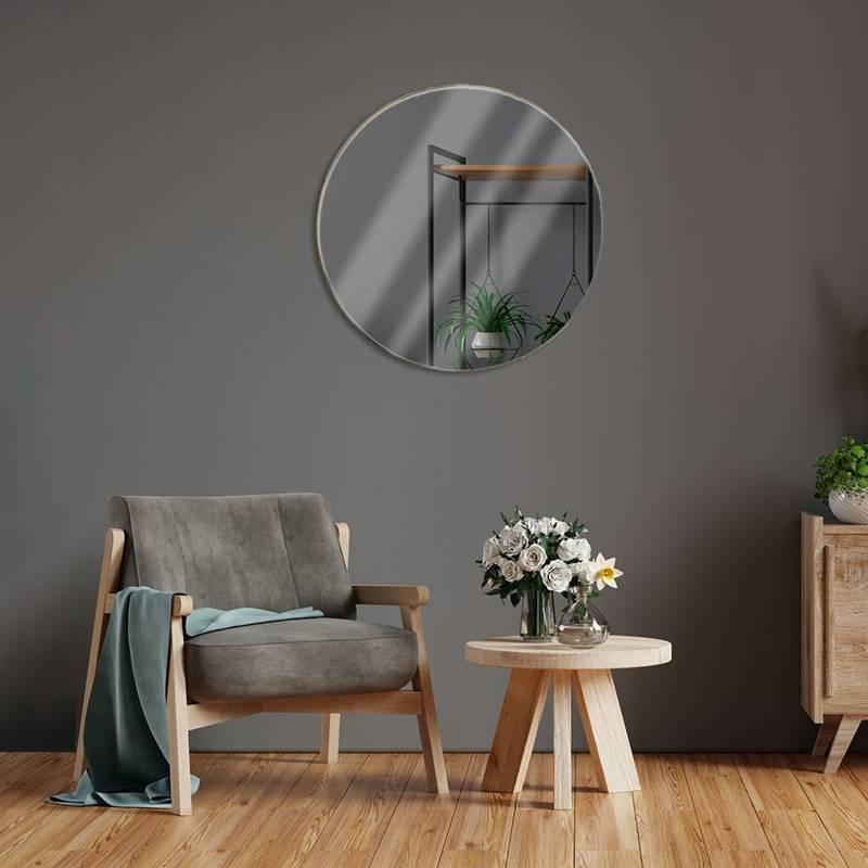 Okrągłe lustro w złotej ramie, metalowe, ścienne, łazienkowe, do salonu, złote, 55 cm