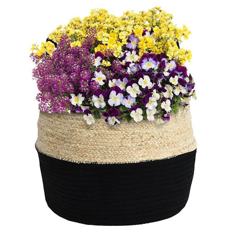 Osłonka, donica, kosz boho, czarny, pleciony, na doniczkę, kwiaty, rośliny, 34x28 cm