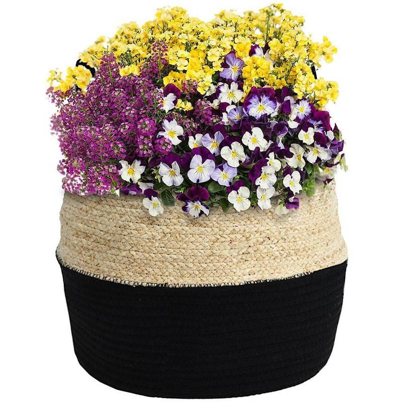 Osłonka, donica, kosz boho, czarny, pleciony, na doniczkę, kwiaty, rośliny, 40x32 cm