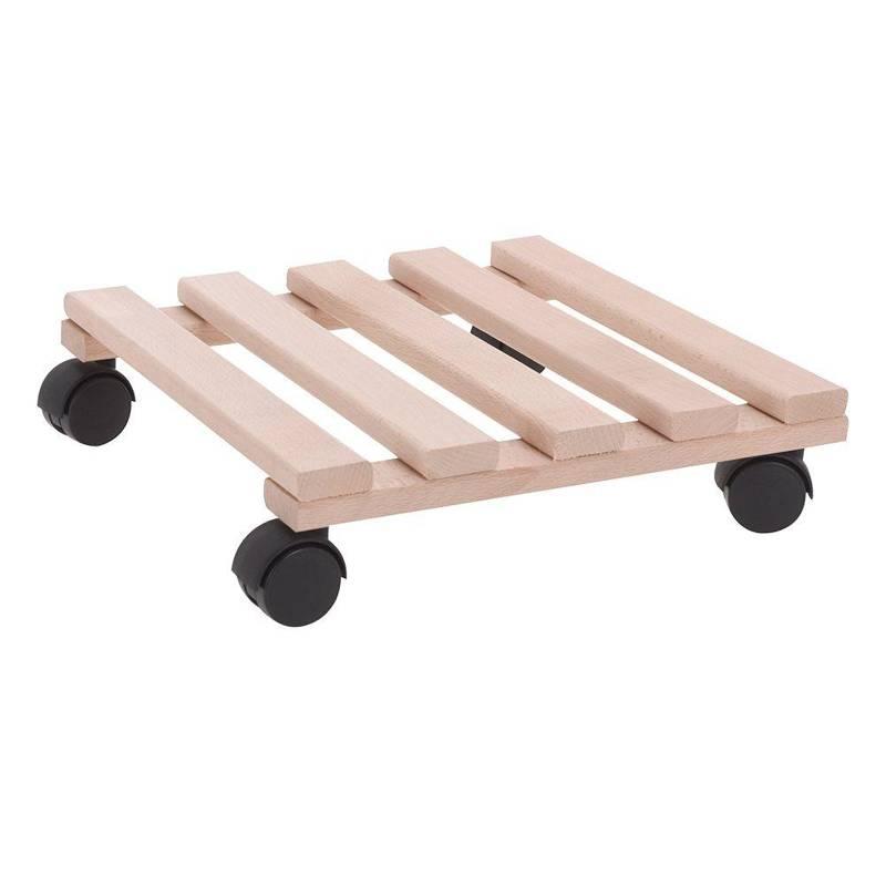 Podstawka drewniana, kwadratowa, podstawa pod donicę, doniczkę, na kółkach, do przesuwania, 30x30 cm