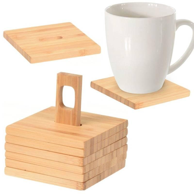 Podstawka, podkładka, drewniana, bambusowa, pod kubek, szklankę, zestaw, komplet podkładek bambusowych 6 sztuk