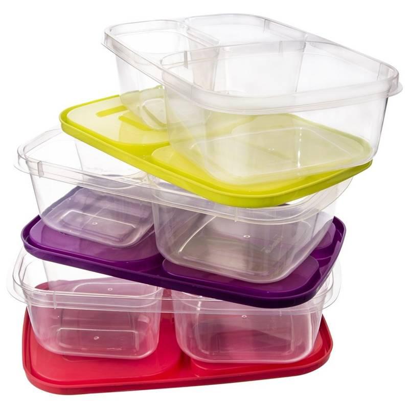 Pojemnik DZIELONY do żywności 3-częściowy lunchbox 2,2L