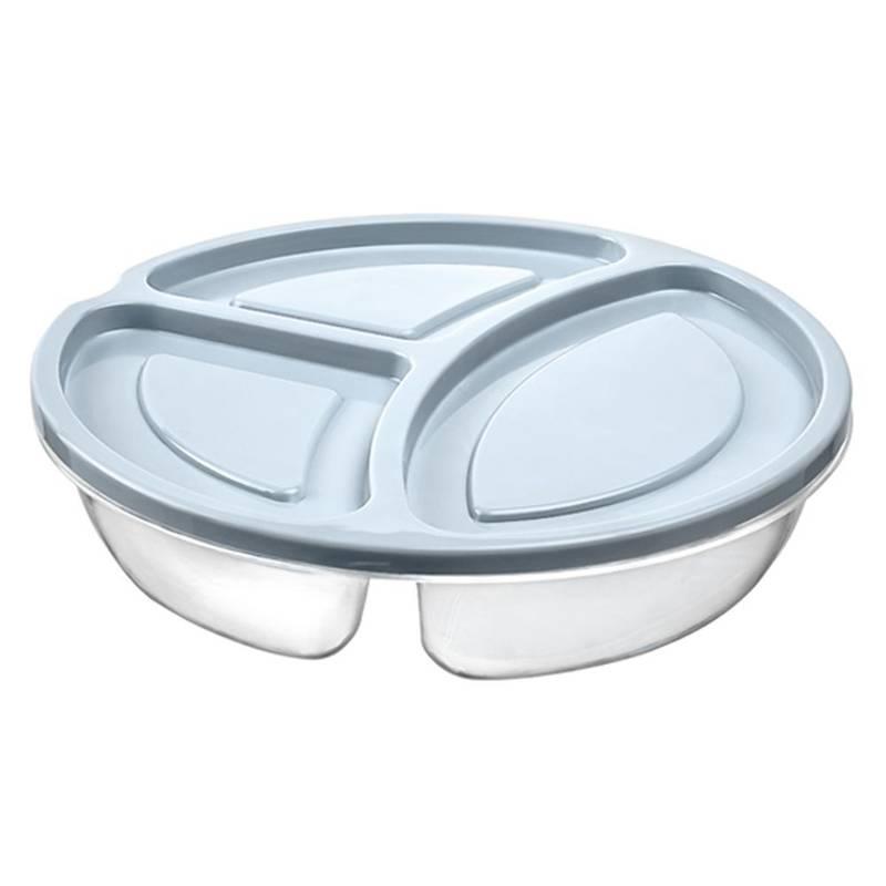 Pojemnik DZIELONY okrągły do żywności 3-częściowy lunchbox 0,6L