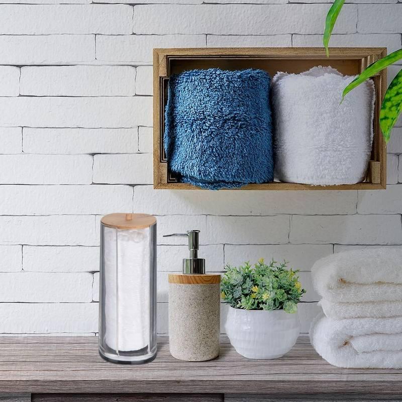 Pojemnik łazienkowy na płatki kosmetyczne, bambusowy podajnik na waciki higieniczne