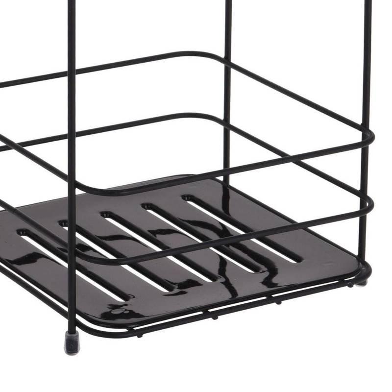 Półka łazienkowa, regał 2-poziomy, czarna, organizer