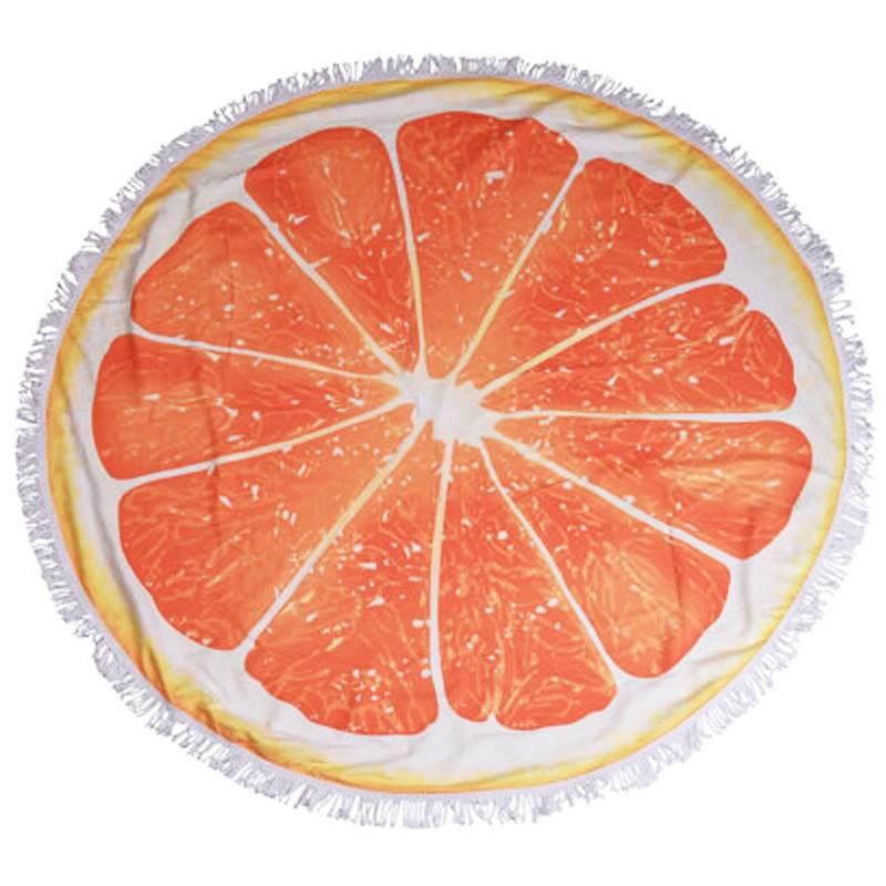 Ręcznik plażowy, kąpielowy, okrągły, duży, z mikrofibry, 150 cm, pomarańcza