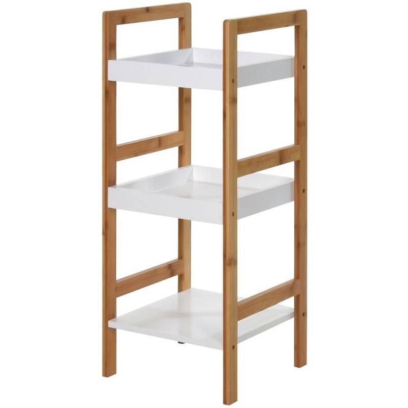 Regał łazienkowy, bambusowy, 3-poziomowy, półka, szafka bambusowa na kosmetyki, akcesoria