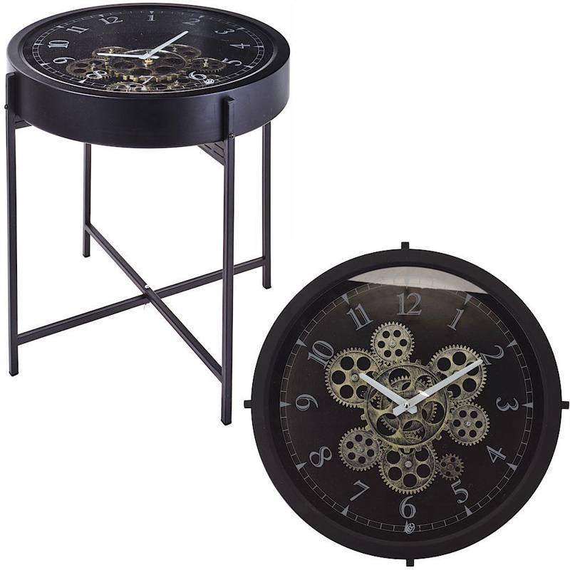 Stolik kawowy, zegar, metalowy, industrialny, loft, czarny, 40 cm