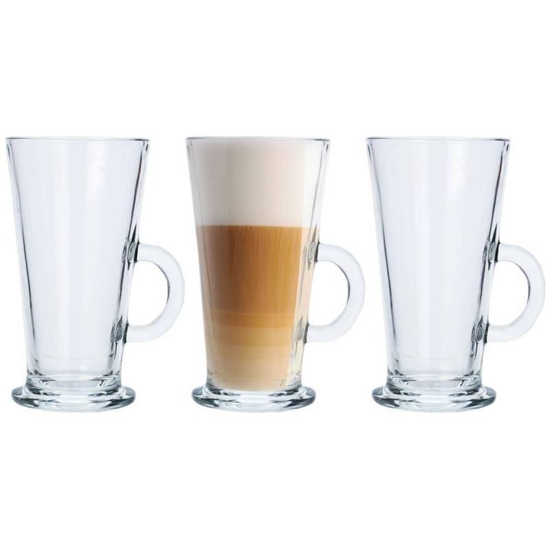 Szklanka, szklanki do kawy latte, zestaw, komplet szklanek 310 ml 3 sztuki