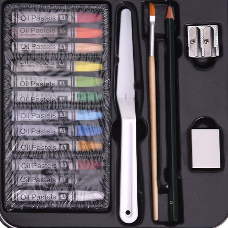 Zestaw akcesoriów artystycznych, farbek, farby olejne, pastele olejne, farbki w tubkach, paleta, 24 elementy, 6x12 ml