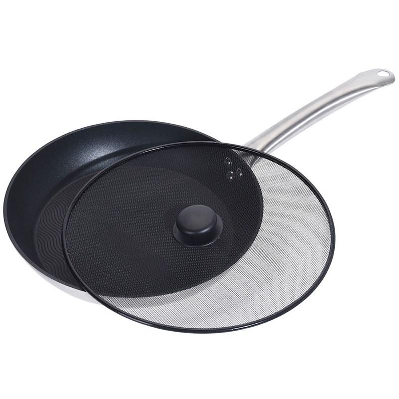 Capac pentru tigăi, oale, plase de prăjire, rezistent la pulverizare, 29 cm, negru