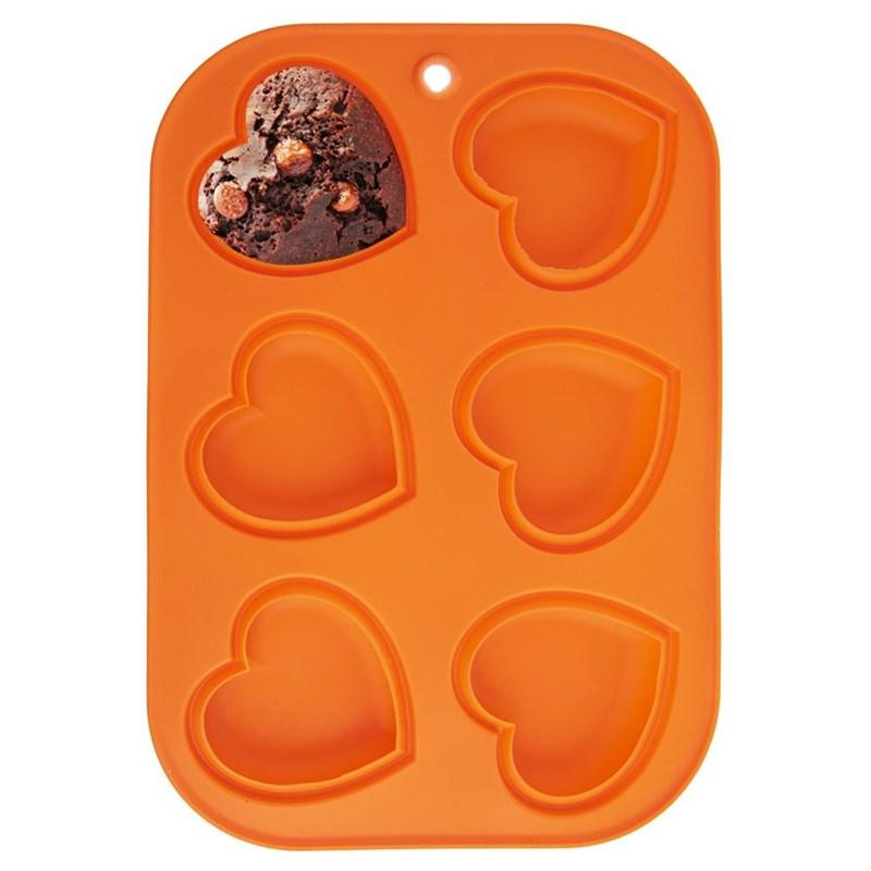 Formă de brioșe, pentru brioșe, cupcakes, silicon, inimă, pentru 6 căni