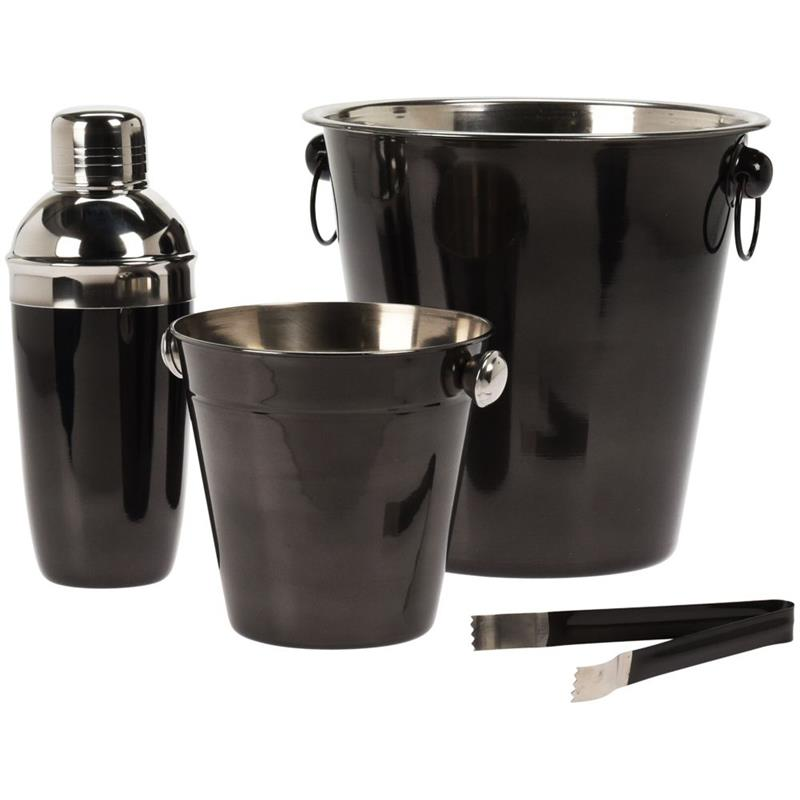 Set de bar, barman, oțel, negru, 2x găleată de gheață, agitator, clește