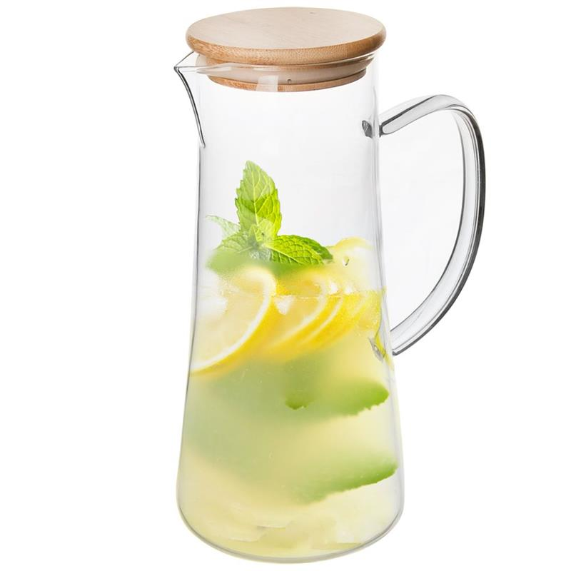 Ulcior cu capac și mâner din bambus pentru băuturi calde și reci, apă, limonadă, suc, cafea, ceai, vin fiert, 1,5 l