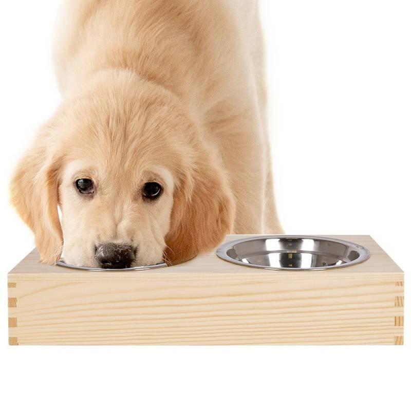 Bol dublu, două boluri pentru câine, pisică, mâncare, apă, set de boluri în suport, 2x 300 ml