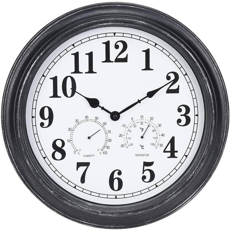 Ceas de perete, rotund, pentru exterior, pentru grădină, cu termometru și higrometru, 40 cm