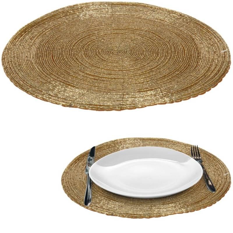 Covoraș de bucătărie auriu pentru masă, tacâmuri, tacâmuri, rotund 30 cm