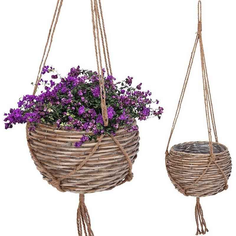 Ghiveci de flori, capac suspendat din răchită, țesut, suport de plante suspendate boho, floare, 36 cm