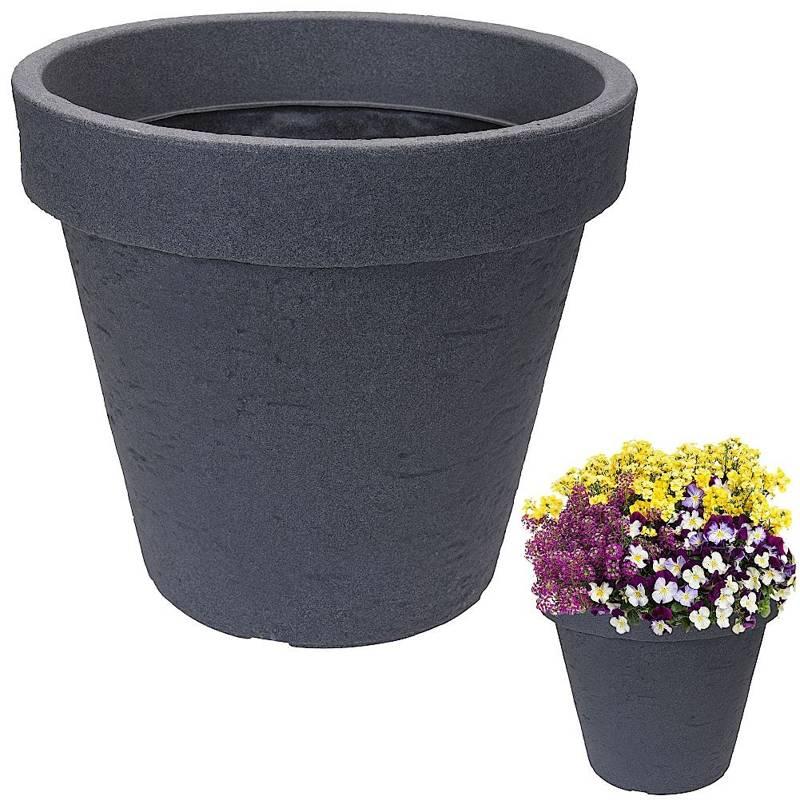 Ghiveci de flori, mare, ghiveci de grădină rotund, pentru exterior, gri, 39 cm