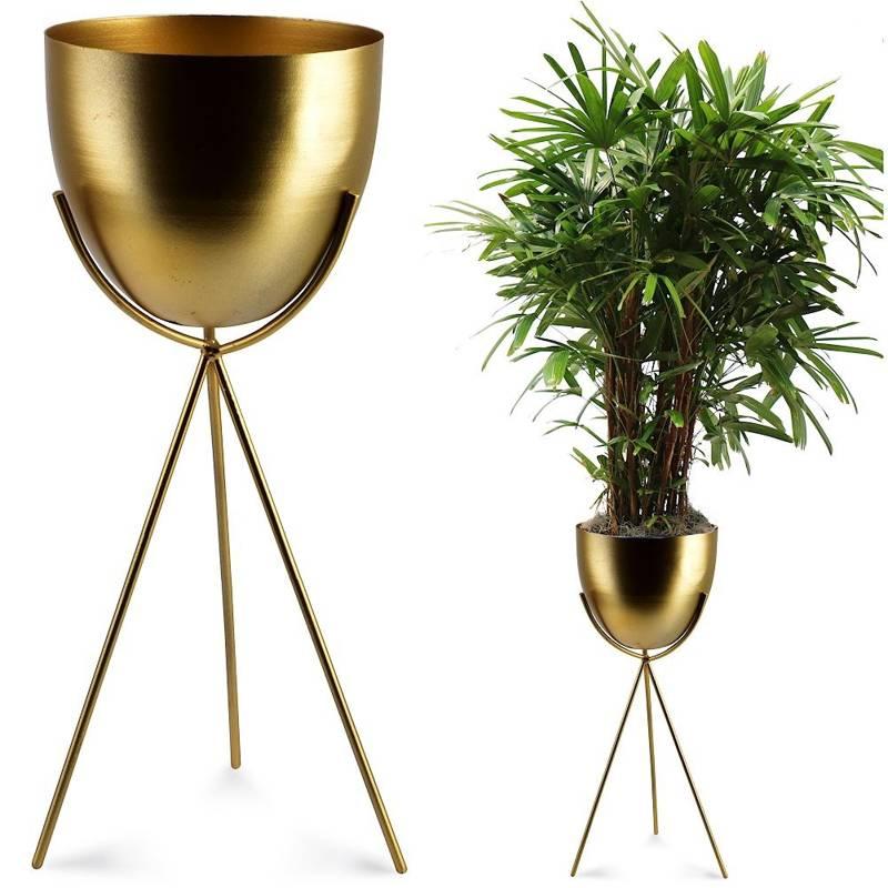 Înveliș de protecție, ghiveci de flori din metal pe suport, auriu, pentru plante, flori, 14x37 cm