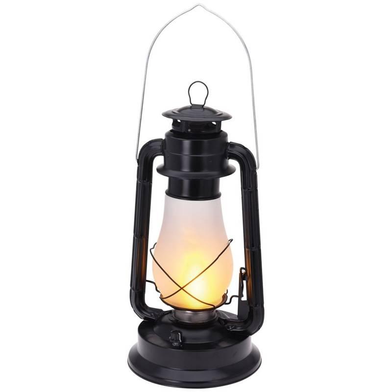 Lampă, lampă, felinar metalic, negru, felinar cu flacără LED mobilă, 37 cm