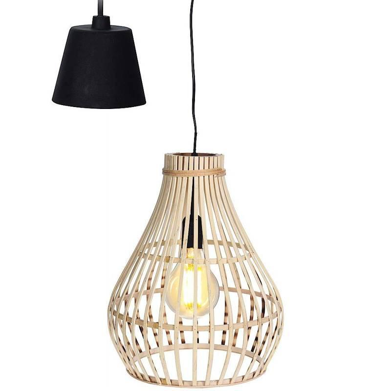 Lampă suspendată, boho, bambus, lemn, abajur, natural, 32x39 cm