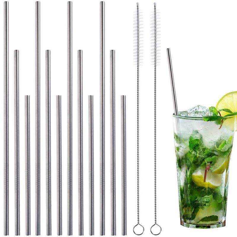 Paie de băut, tubular din oțel, metal, ecologic, reutilizabil, + dispozitiv de curățare, 14 bucăți, set, set de paie