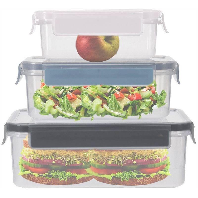 Recipient alimentar cu capac, cu garnitură și sigiliu, cu clips, set, set de recipiente de bucătărie, 3 bucăți